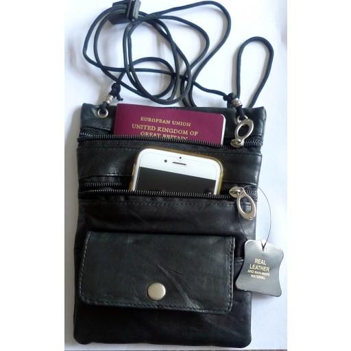 PASSPORT Cash Stash Leather ID Holder Neck Travel Pouch Wallet