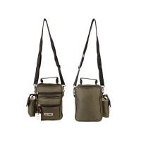 Unisex Canvas Multi-Purpose Shoulder Bag with Belt Loop in Green
