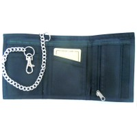 Black Canvas Sports Velcro Rip Credit Card Wallet Security Chain Trifold