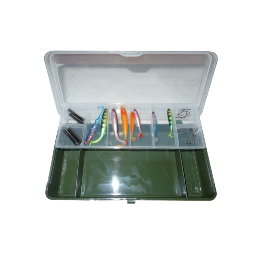 Deluxe Drop Shot kit weights,Hooks and Shads in Tackle Box