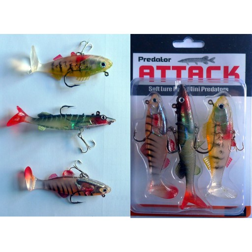 Preditor AttackSoft Lure Mini Prediators 4 Stripers 3 Pack
