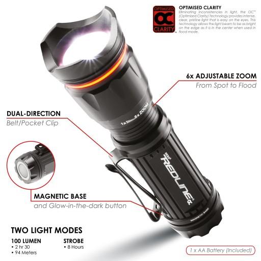 Nebo Redline® High Power Tactical Convex Lens Lightweight Flashlight