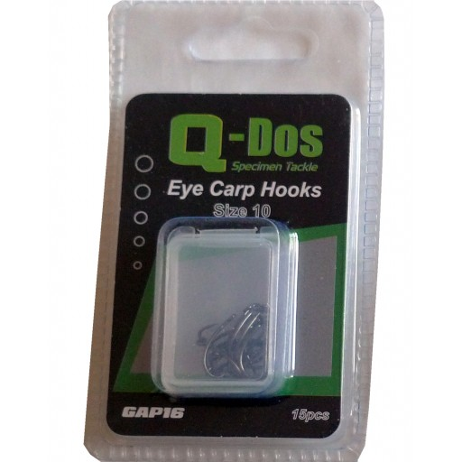 Size 10 Q Dos Eyed Barbless Specimen Carp Hooks, 15 Hooks per pack