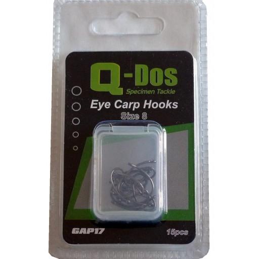 Size 8 Q Dos Eyed Barbless Specimen Carp Hooks, 15 Hooks per pack