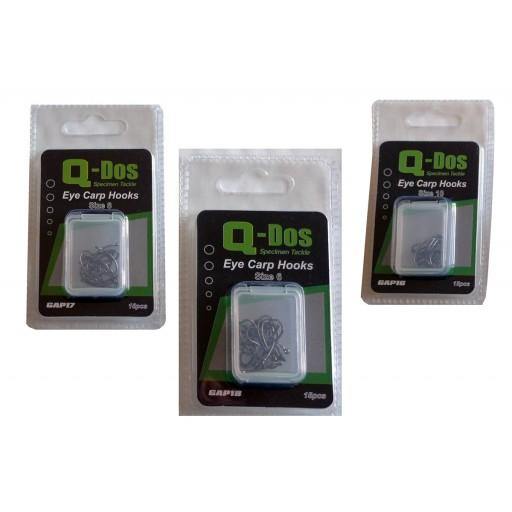 Size 6 ,8, 10 Q Dos Eyed Barbless Specimen Carp Hooks, 3 pack DEAL